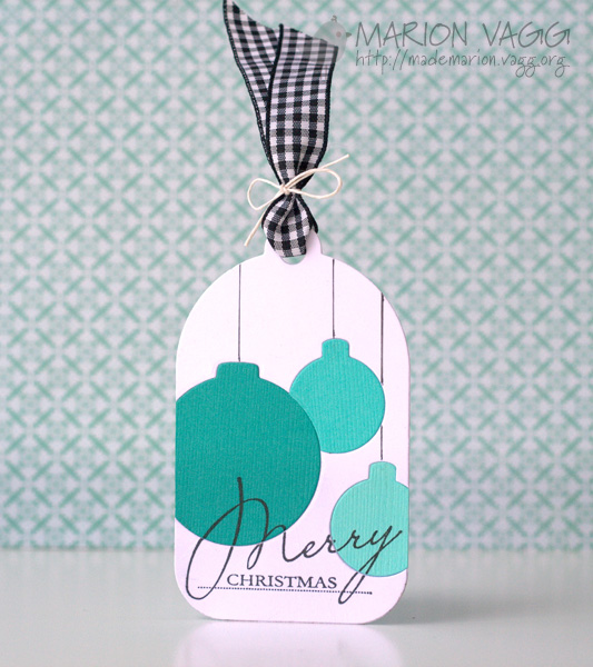 Inlaid die cutting - Merry Christmas tag
