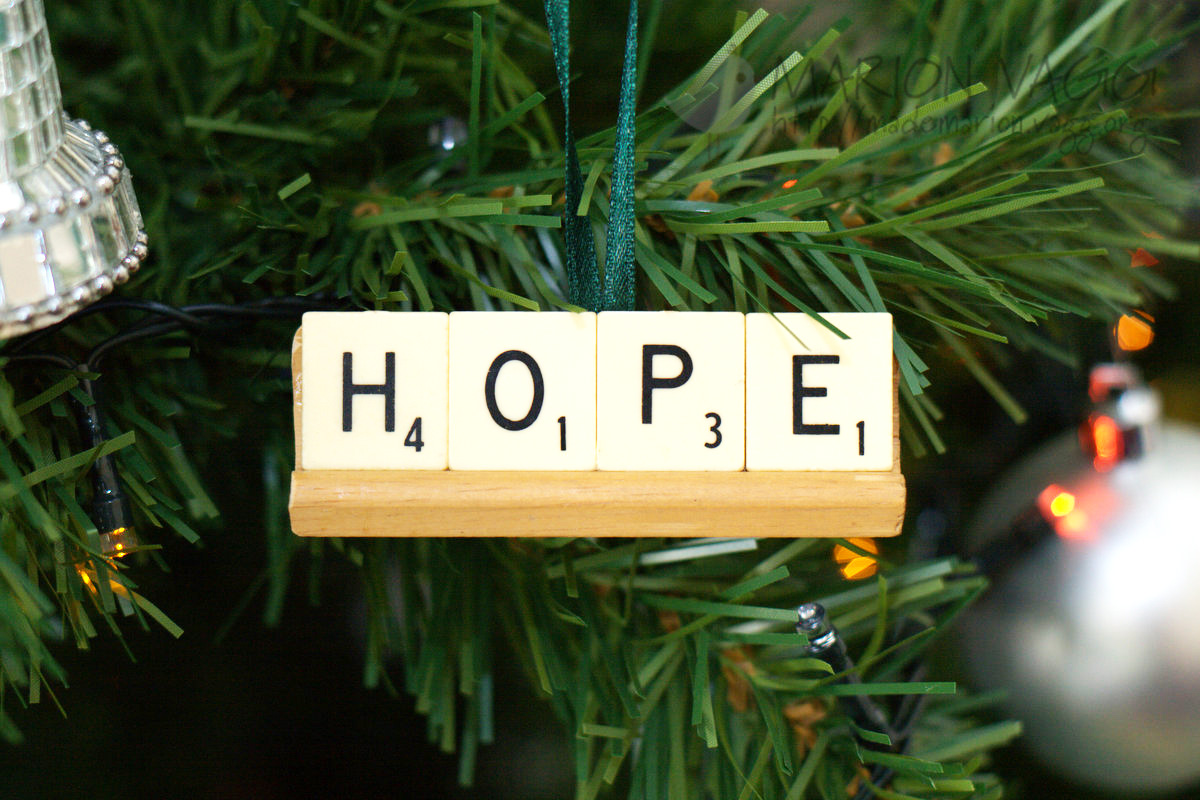 Scrabble tile ornament - Hope | Marion Vagg