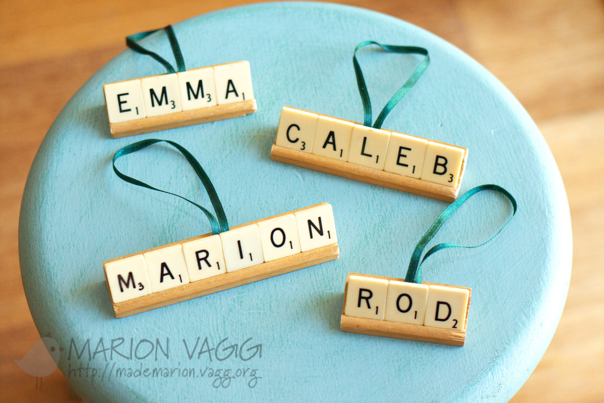 Scrabble Tile ornaments - Marion Vagg