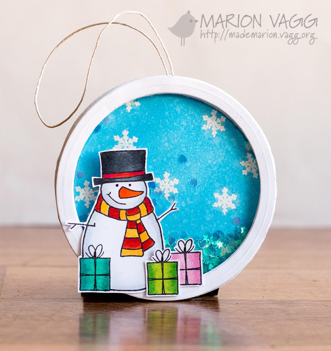 JD snowman shaker ornament | Marion Vagg
